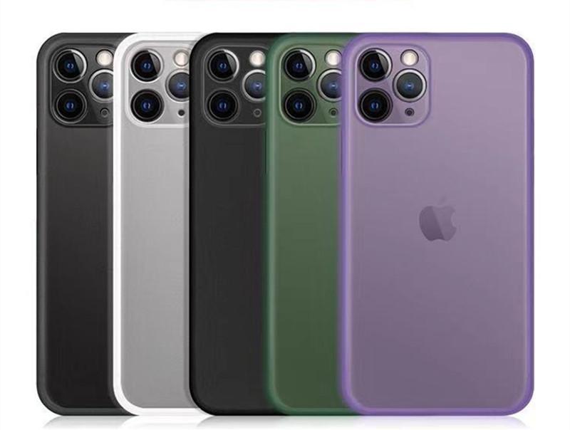 Ultra-fino slim matte dura pp casos para iphone 13 mini 12 pro max xs xr x 7 8 plus se 11 tem proteção de proteção de câmera