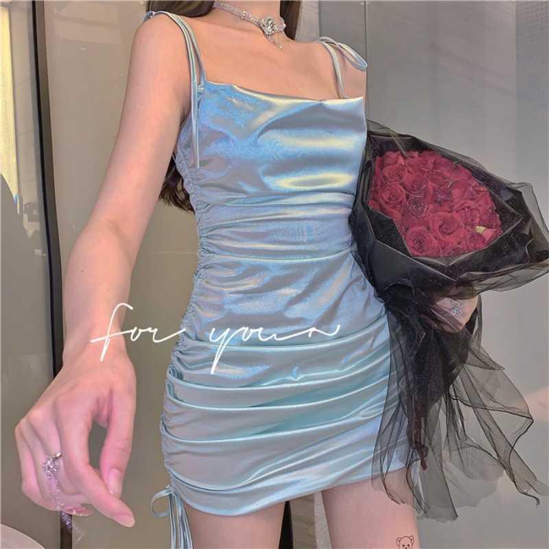 Sexy Slim Slim-Fit Small Dungaree Dress Women's Summer Temperament Bag Hip Sleeveless Skirt Style Skirt Lady Gril Club Dress 210528