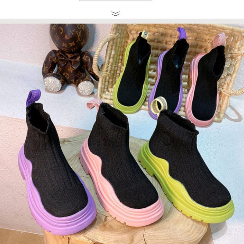أطفال أحذية رياضية الجوارب أحذية الفتيات الفتيان الأزياء الراحة الانزلاق على تنفس الرياضة تحلق الحياكة حذاء حذاء رياضة تنوعا 26-36 الرياضة أحذية