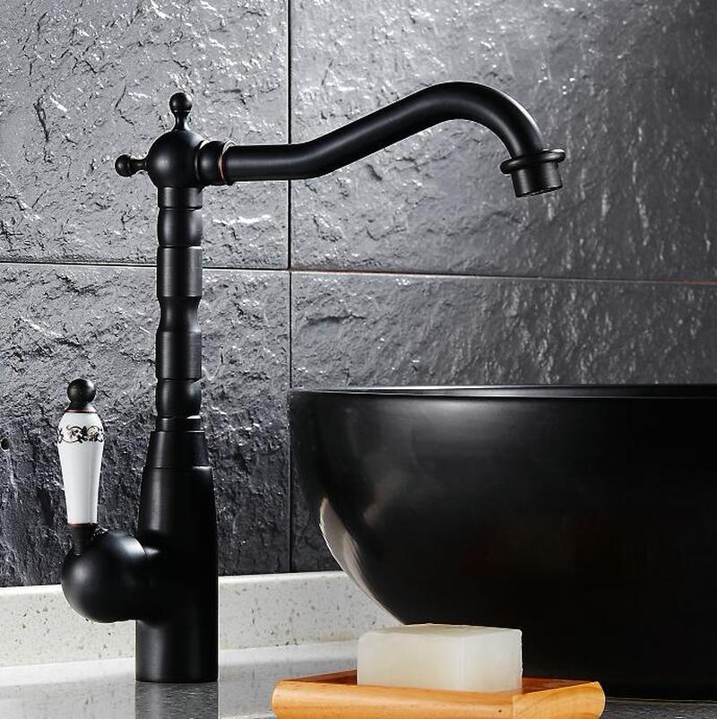Kitchen Faucets Swivel Brass Mixer Faucet Sink Basin Tap Black Antique
