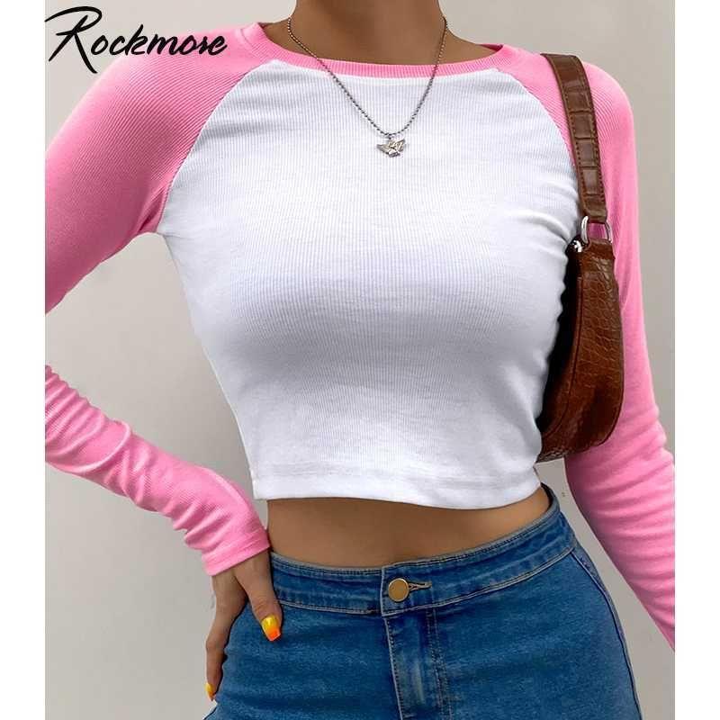 Rockmore Kontrastfarbe Patchwork Kawaii T-shirts Langarm Crop Tops Frau Y2k Ästhetisch Casual Slim Basic Streetwear T-Shirts Y0603
