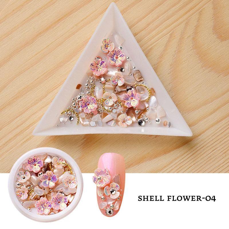 1Box Nails Shell Flower Nail Art Decoration Decoration Perla Diamond Accessori forniture per professionisti Accessori fai da te Decorazioni