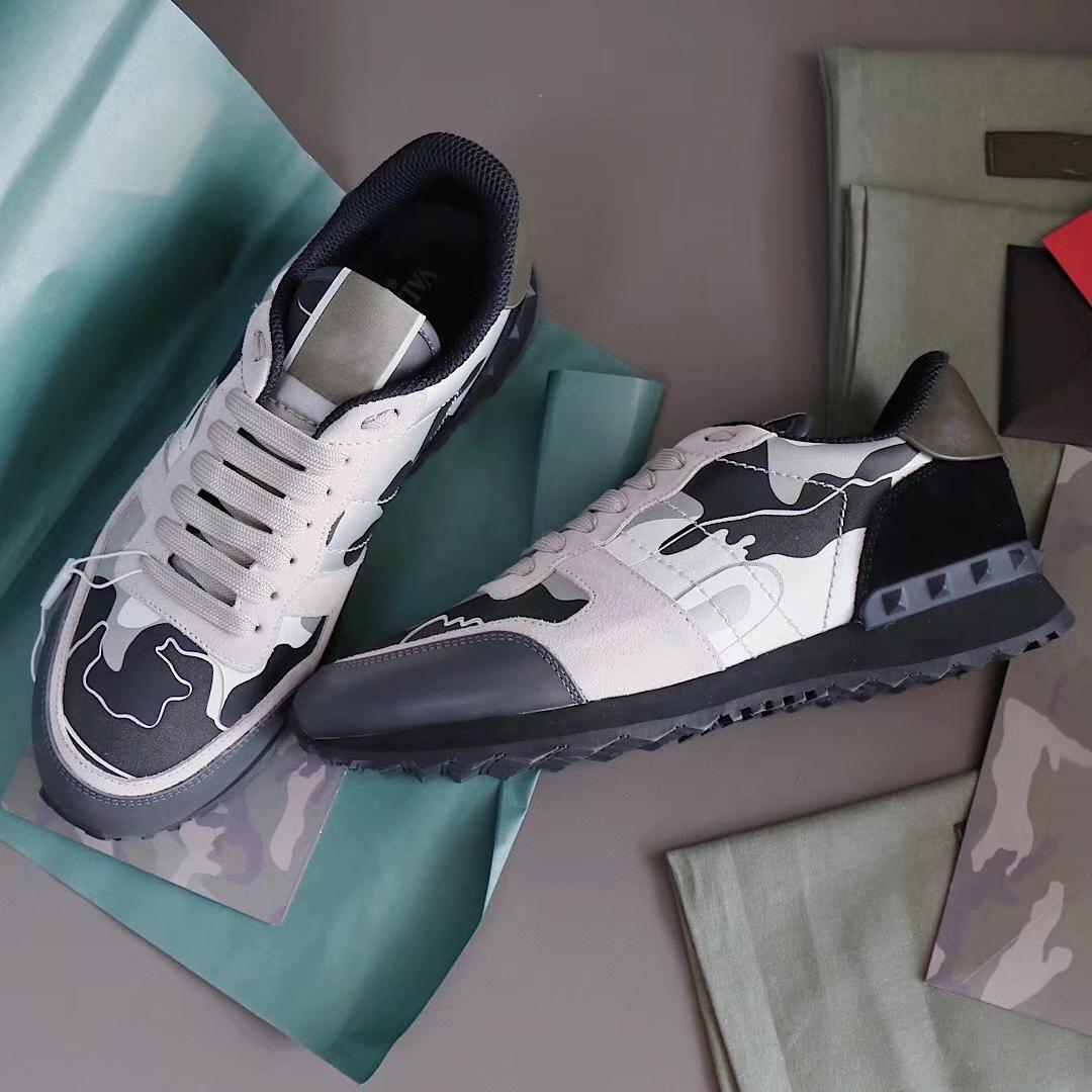 MES damızlık rockrunner kamuflaj ayakkabı eğitmenler mesh gerçek deri combo rock runner sneakers erkekler kauçuk taban yassı kutu kutusu boyutu ile en kaliteli 39-46 no264