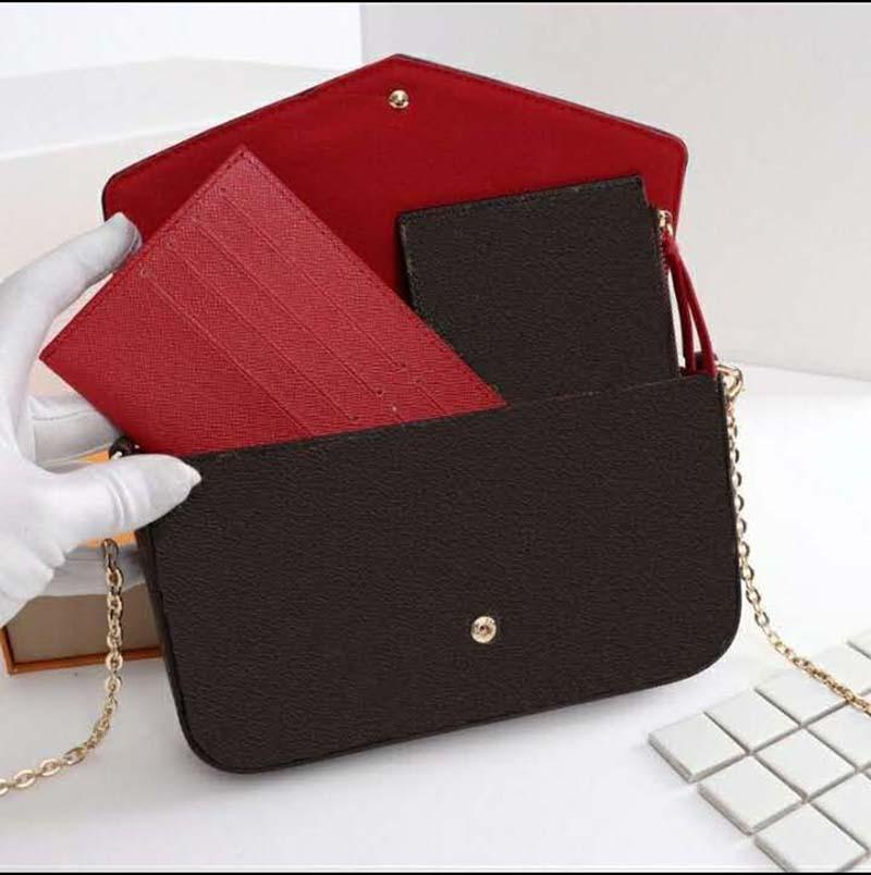 2021 Yüksek Kalite 3 Parça Set Bayanlar Omuz Çantaları Messenger Zincir Kayışı El Kutusu ve Toz Çanta ile Cüzdan Taşıma