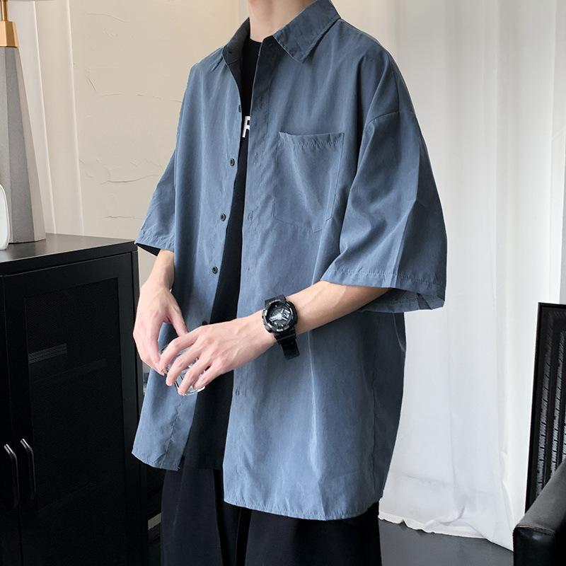 Camicia da uomo 2021 sottile giacca a mezza manica versatile sottile giacca da uomo coreano moda uomo solido colore solido allentato manica corta rivestimento vestiti