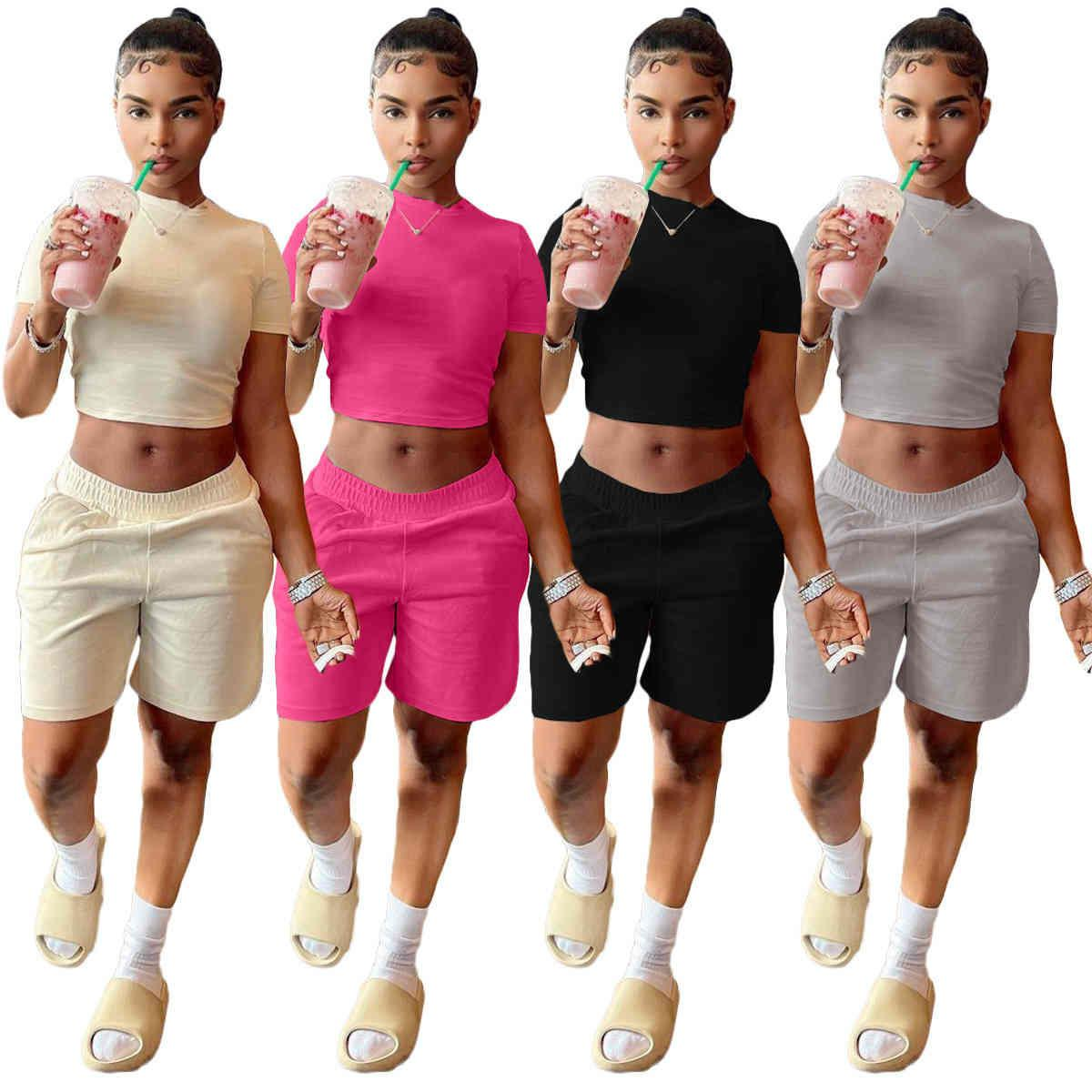 Летние женщины Короткие наряды Мода Повседневная Сплошная Цвет Футболка Шорты Буксировки Кусочки Комплект Комплект Главная Спортивный костюм 1224