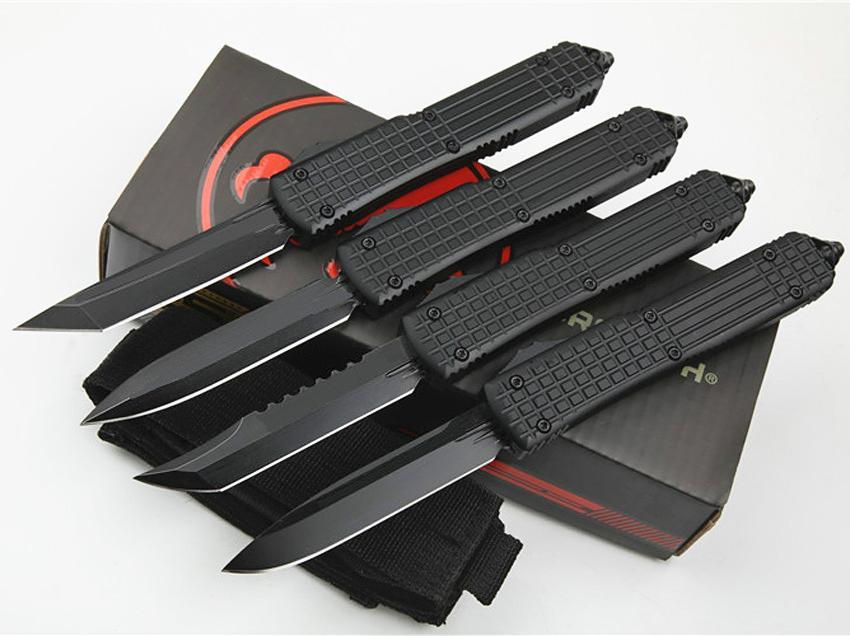 MT UT Auto Táctico Cuchillo Táctico D2 Steel Black Blade CNC 6061-T6 Manejar Cuchillos de bolsillo EDC con bolsa de nylon y caja de venta al por menor