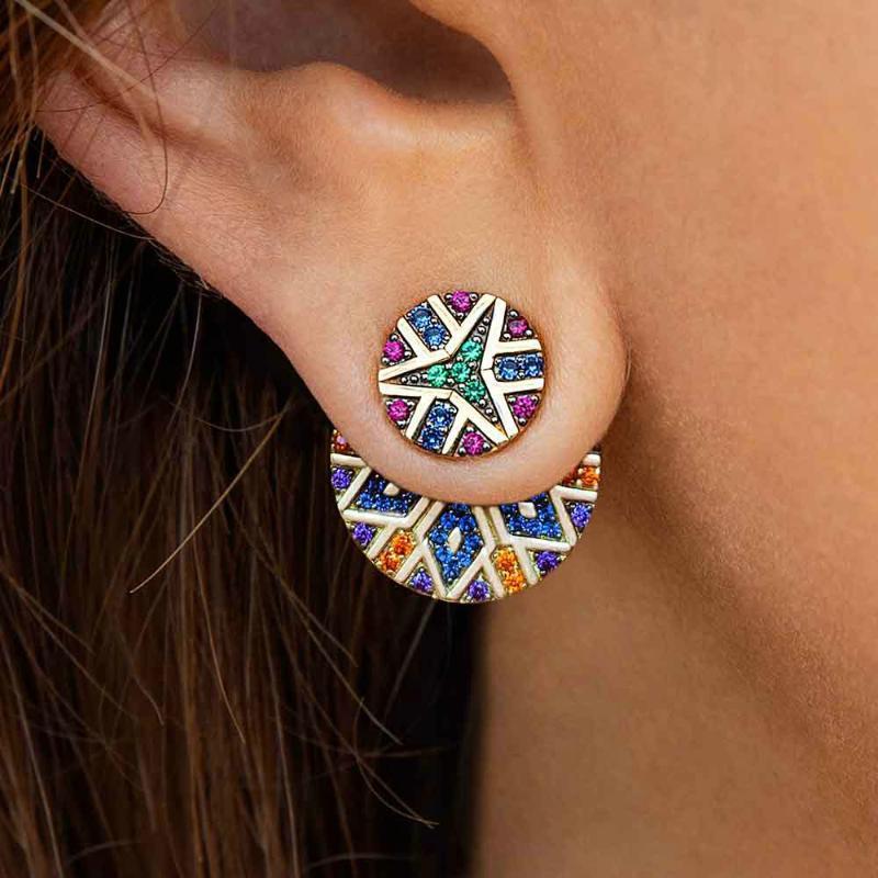 النساء الأقراط الأزياء والمجوهرات الفولاذ المقاوم للصدأ و الكريستال الأذن غير المتماثلة الأذن ترصيع التصاميم الملونة عشيق