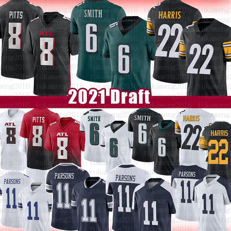 6 Devonta Smith 1 Kadarius Toney 22 Najee Harris Football Jersey 8 Kyle Pitts 11 Micah Parsons 2021 مشروع الفانيلة الأمريكية لكرة القدم