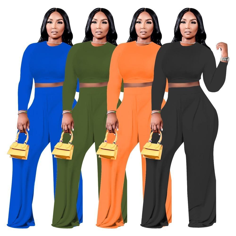 Zjfzml Zz Damenkleidung Zweiteilige lange Hose Set Plus Size Oansatz Full Sleeve Crop Top und lose breite Beinhose Dropshipping Großhandel