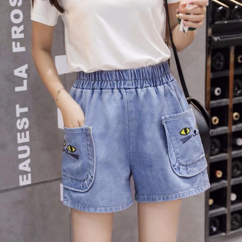 Alta cintura elástica larga perna solta calças de brim shorts feminino calças quentes fashionndvd