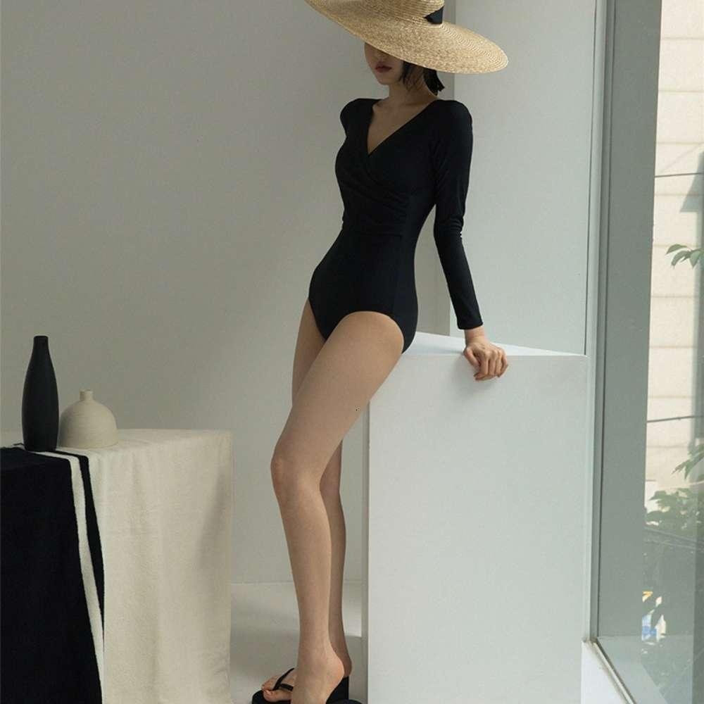 Costume da bagno sexy sexy stile coreano in stile un pezzo di immersioni show sottile copertura sottile pancia conservatrice manica lunga solare solare solare primavera vestito di nuoto