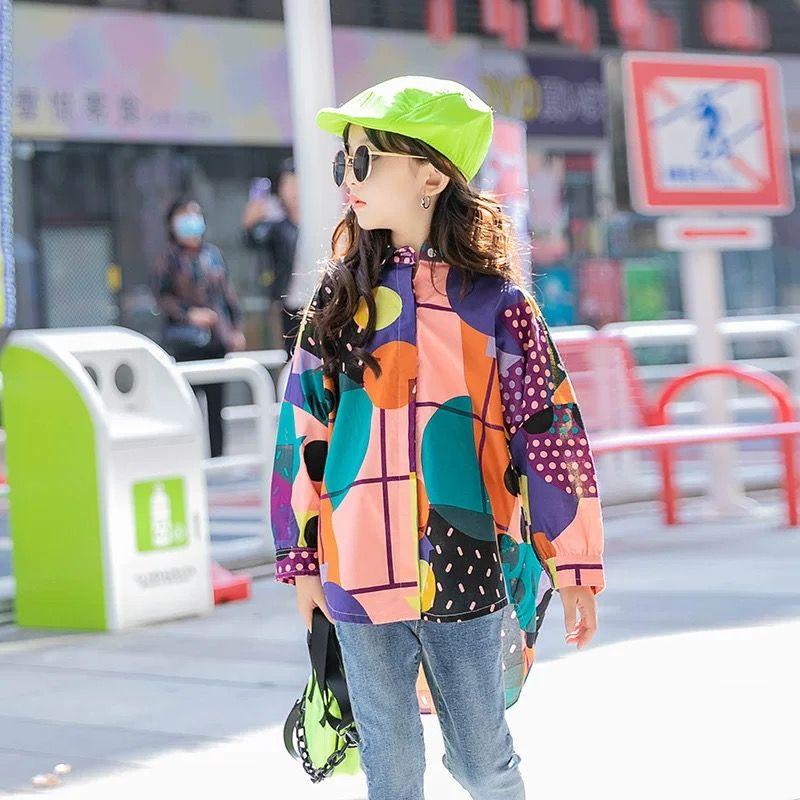 INS Fashions Big Girls T-shirts Printing Children Turn-down Collar Street Wears Spring Child Tops