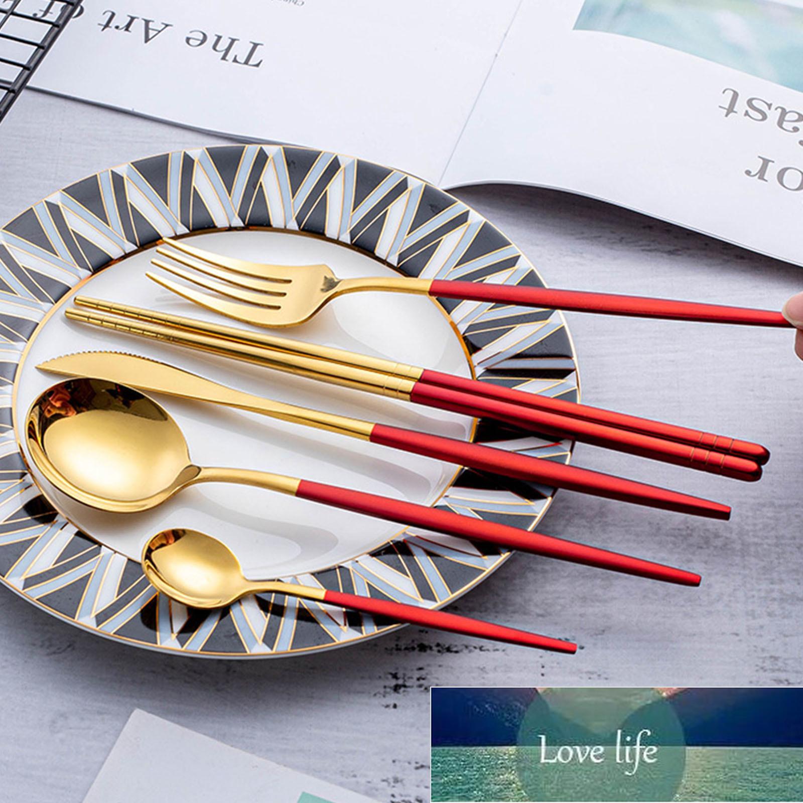 식기 5 피스 세트 나이프 포크 숟가락 젓가락 차 숟가락 스테인레스 스틸 포르투갈어 식기 식기 새로운 1set 공장 가격 전문가 디자인 품질 최신 스타일