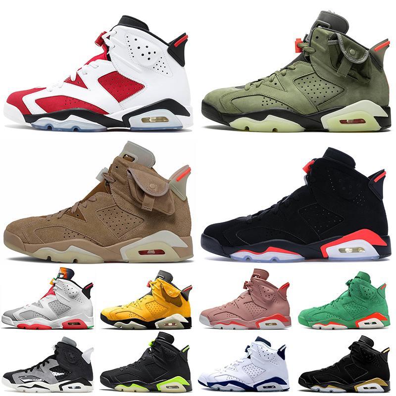 Nike Air Jordan 6 Retro 6 Travis Scott 6s 2020 Stock x Jumpman Mulheres Mens tênis de basquete Hare tecnologia Chrome Quai 54 Formadores Sneakers