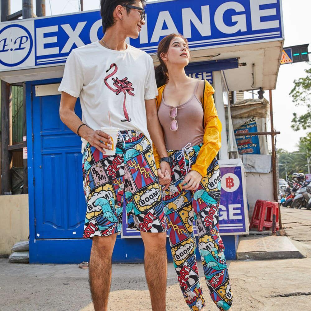 Pantalones cortos de alta calidad en verano2021 VERANO MUJER DE VERANO SALIENTE FALSA FALSA PULSO PANTALLA DE PLAYA CASUAL RECTOR