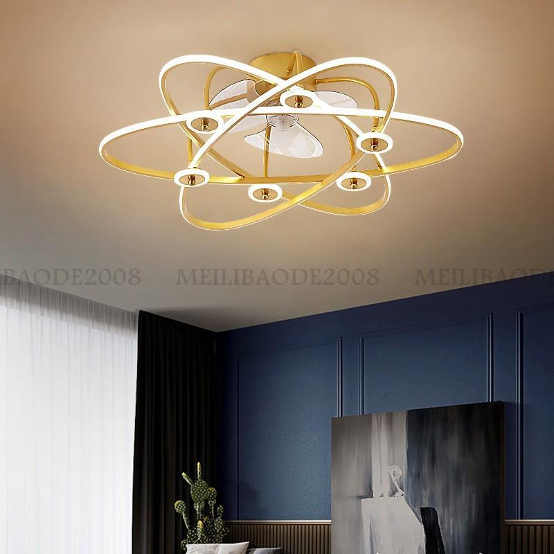 Creative Luxury Invisible LED Fan Aladera Simple Acrílico Colgante Lámpara Techo Luz de techo para Villas Salón Comedor Habitación Restaurante Bar Apartamento