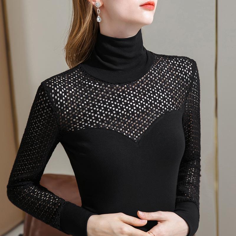 Siyah yüksek yaka dantel dipli üst kadın sonbahar ve kış 2021 uzun kollu tişört ile giymek