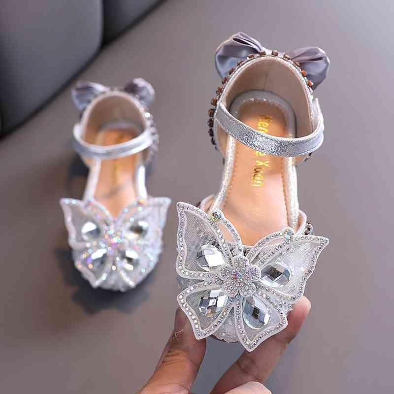 Plata Pink Bling Rhinestone Butterfly Sandalia de cristal Niños Princesa para Boda Party Girls Dance Rendimiento Zapatos 210322