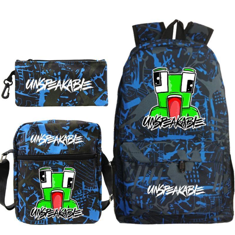 3 pçs / set mochila sacos para crianças mulheres homem unspeakable mochilas bolsa de lona escola ombro lápis case mochila