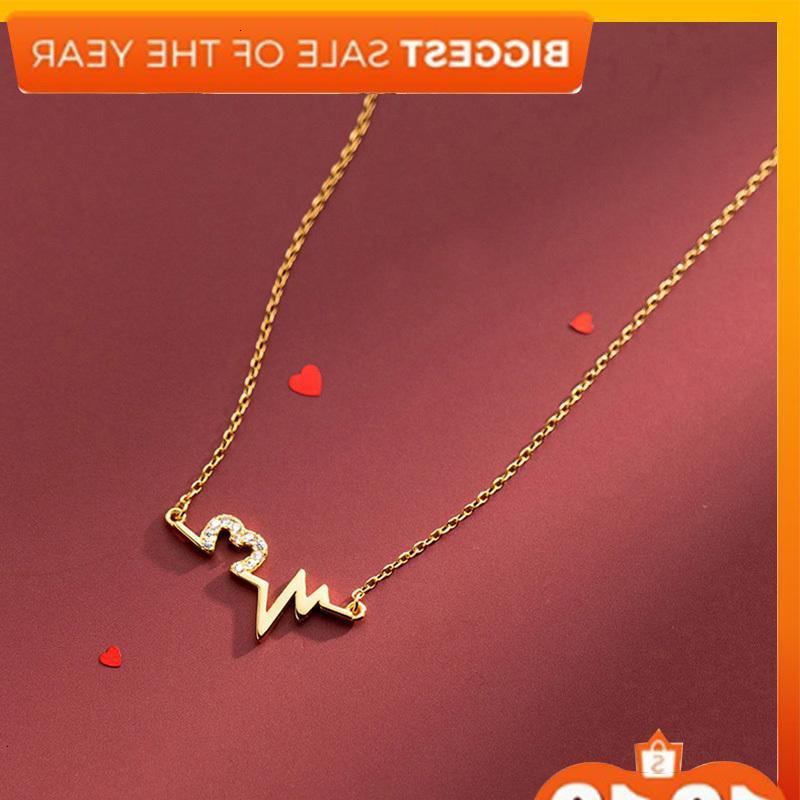 S925 Silver Beartbat Gold Col-Coréen Style Coréen Simple Amour Diamants Electrocardiogram Chaîne Femme