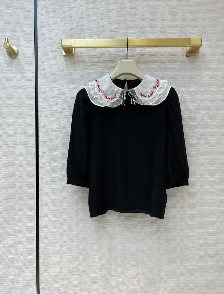 2021 Milan Pist T Gömlek 1/2 Kollu Kadın T Gömlek Yüksek Sonu Jakarlı Kazak Kadın Tasarımcı T Gömlek 0317-2
