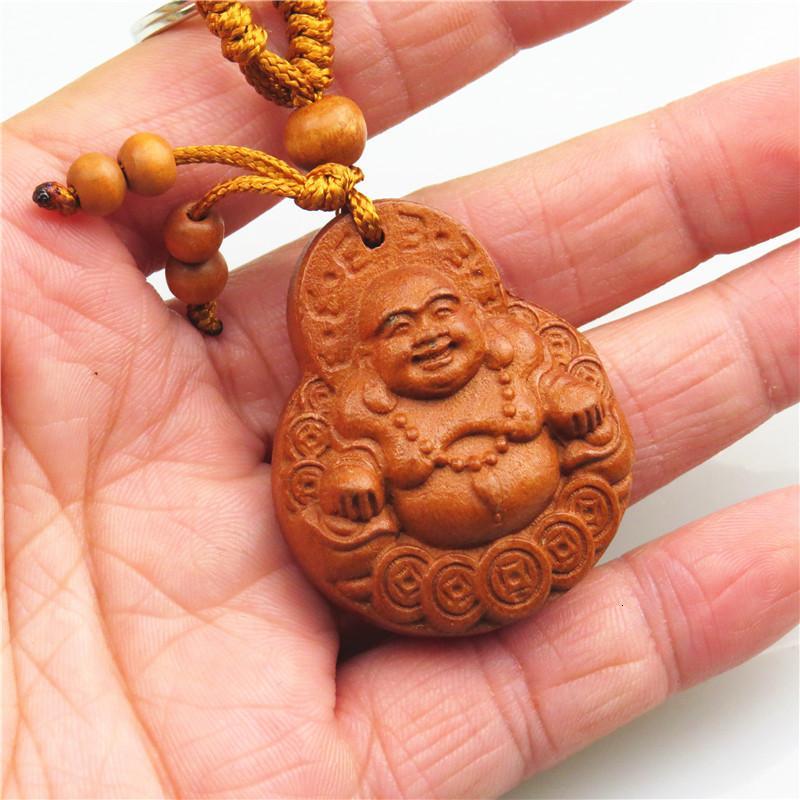 Keychain Dez Yuan Loja de Presentes Mogno Chaveiro Sorriso Frequente Maitreya Buda Pendurado Presentes de Artesanato de Madeira Criativo
