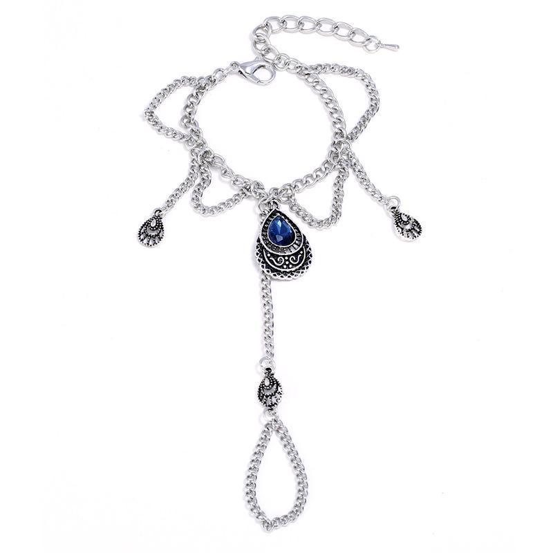 Charm Bracelets Female Adjustable Antique Silver Color Blue Crystal Bangles Arm Link Chain Bracelet & Bangle For Women Trendy Punk Boho Jewe