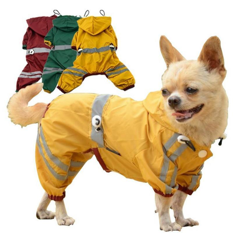 Hundebekleidung Haustierkleidung mit Kapuze Regenmantel Wasserdichte Außenjacke Polyester Schnelltrocknung reflektierend einstellbar