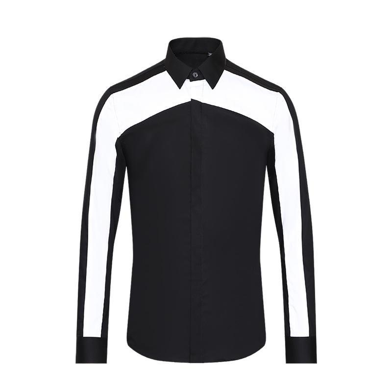 남자 셔츠 기하학적 흑백 스티치 유럽 아메리칸 유행 긴팔 슬림 캐주얼 비즈니스 셔츠