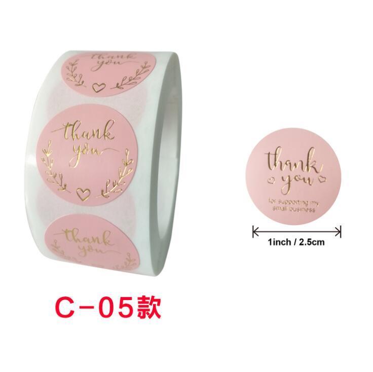GRAZIE Pink Sticker Roll Gold Argento Argento Autoadesivi per Bicchieri Etichetta Accessorio di nozze Tag Vetro Busta Busta Business Box Affari regalo Invito carta Decorazione