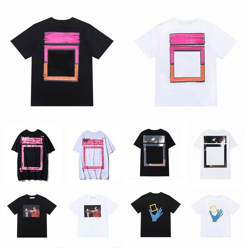 2021 Sommer Herren Womens Designer T-shirts Lose T-Shirts Offs Mode Marken Tops Mann S Casual Shirt Luxurys Kleidung Straße Weiß Shorts Sleeve Kleidung Polos Tshirts