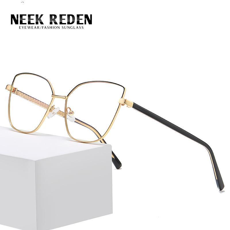 Blaue Licht blockierende Augenbrille Katze Frauen Computer liest Vintage Presbyopia Brillen für Leser Legierung Glasen Rahmen Sonnenbrillen