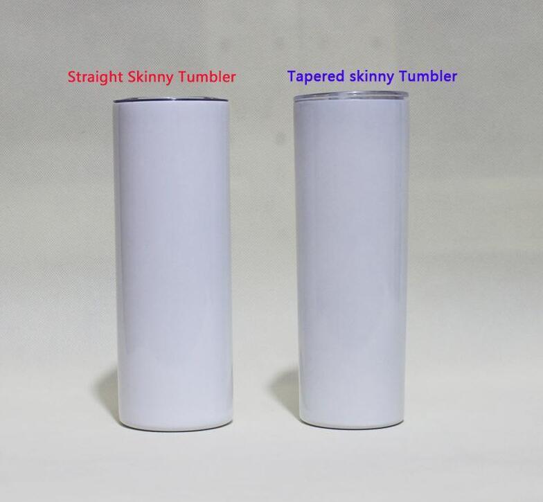 Günstigste 20 Unzen verjüngende und gerade Sublimation Skinny Tumbler 20 oz Edelstahl leerer großer Zylinderwasserflasche mit Metallstrohdeckeln
