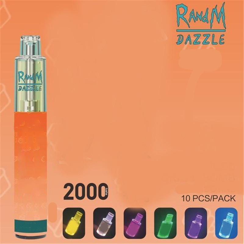 Authentic RandM Dazzle Disposable E cigarette 2000puffs R and M Vape Device 12 Colors RGB Light Glowing Rechargeable