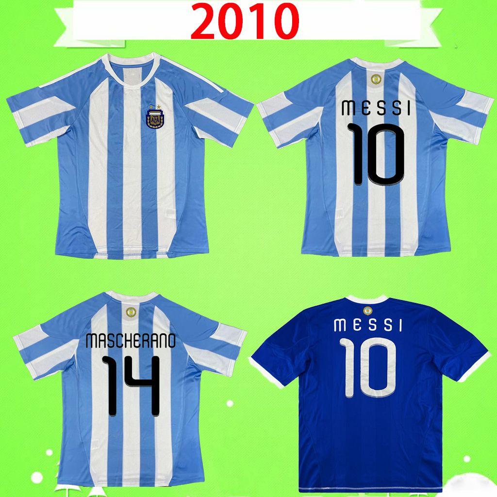 2010 2011 الأرجنتين الرجعية لكرة القدم جيرسي الكلاسيكية خمر قميص كرة القدم HIGUAIN SAMUEL MESSI AGUERO TEVEZ DI MARIA PALERMO MASCHERANO MILITO 10 11 home away