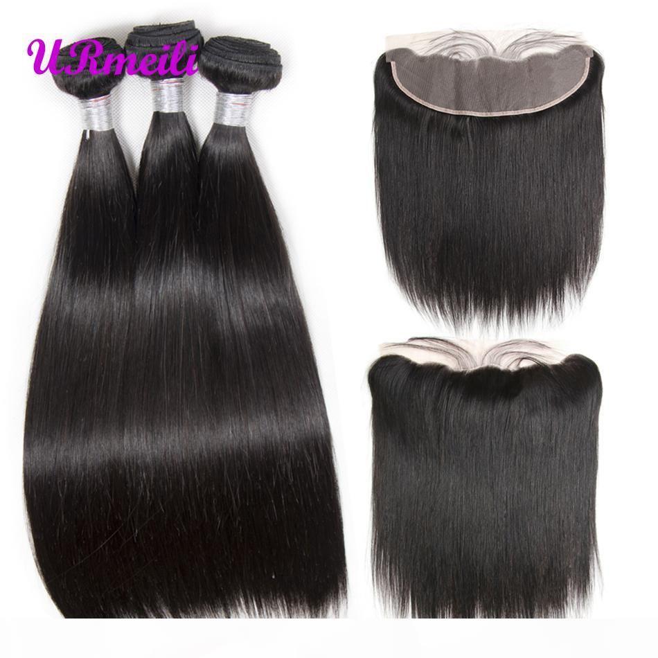 Pacotes de tecer de cabelo humano em linha reta com laço frontal peruano não processado remy cabelo reto 10a grau pacotes de cabelo virgem com laço frontal