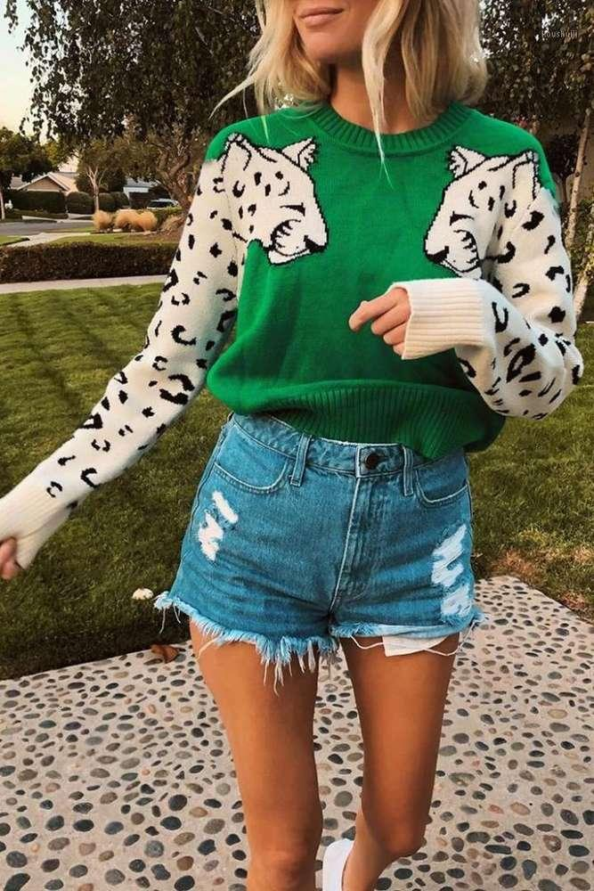 겨울 여자 니트 긴 소매 스웨터 탑스 캐주얼 니트 느슨한 점퍼 풀오버 여성 만화 동물 패턴 스웨터 1