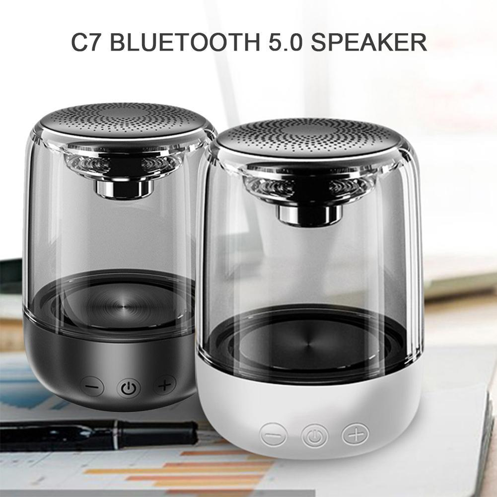 Portable Bluetooth 5.0 Speaker Transparent LED Luminous Subwoofer TWS 6D Surround HIFI Stereo Cool Audio For Mobile Phone