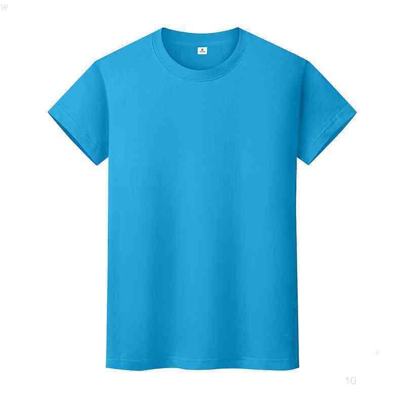 Yeni Yuvarlak Boyun Katı Renk T-Shirt Yaz Pamuk Dibe Gömlek Kısa Kollu Erkek ve Bayan Yarım Kollu DX6EIO
