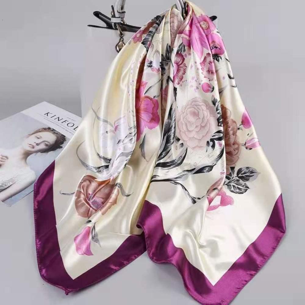 Designer di alta qualità Designerwomen's Primavera e Autumn Piccolo Scialle Striscia Striscia solare Sciarpa Sciarpa di stampa sottile Satin Stampa Catena coreana