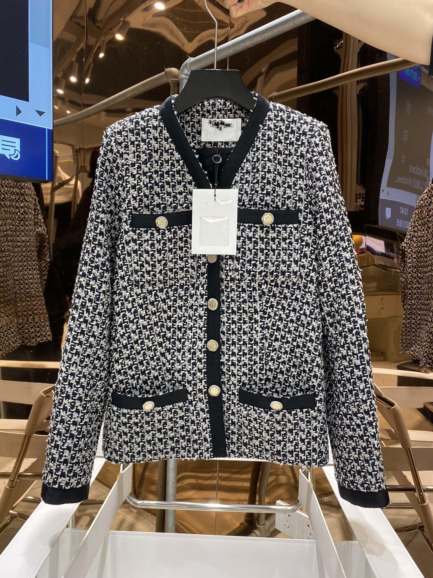 2021 Milan Pist Mont V Boyun Uzun Kollu Panelli Marka Aynı Stil Ceketler Kadın Tasarımcı Mont 0320-20