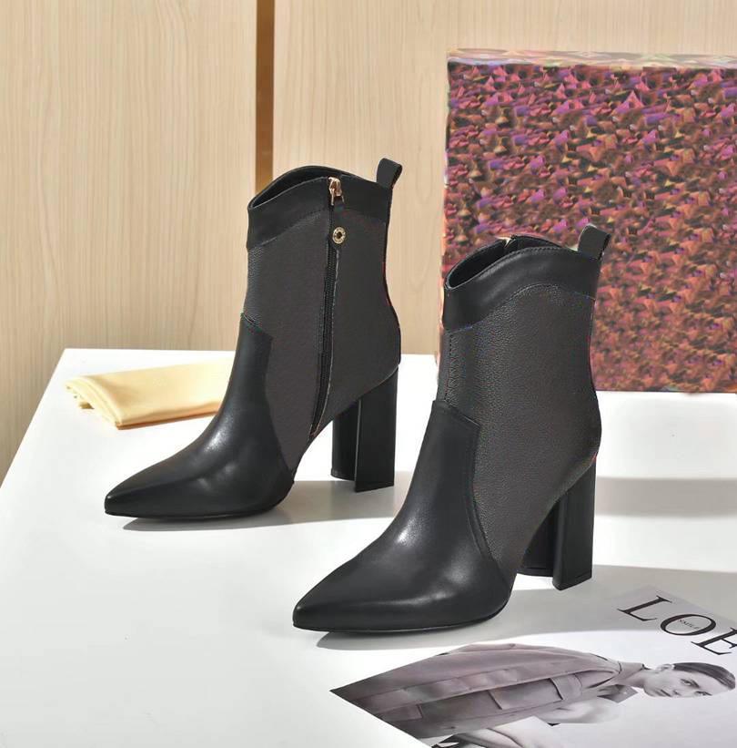 Diseñador de lujo de lujo puntiagudo zapato botas tacones de lujo de lujo de lujo de lujo zapatos de plataforma de encaje de cuero de invierno tamaño de damas 35-42 con caja
