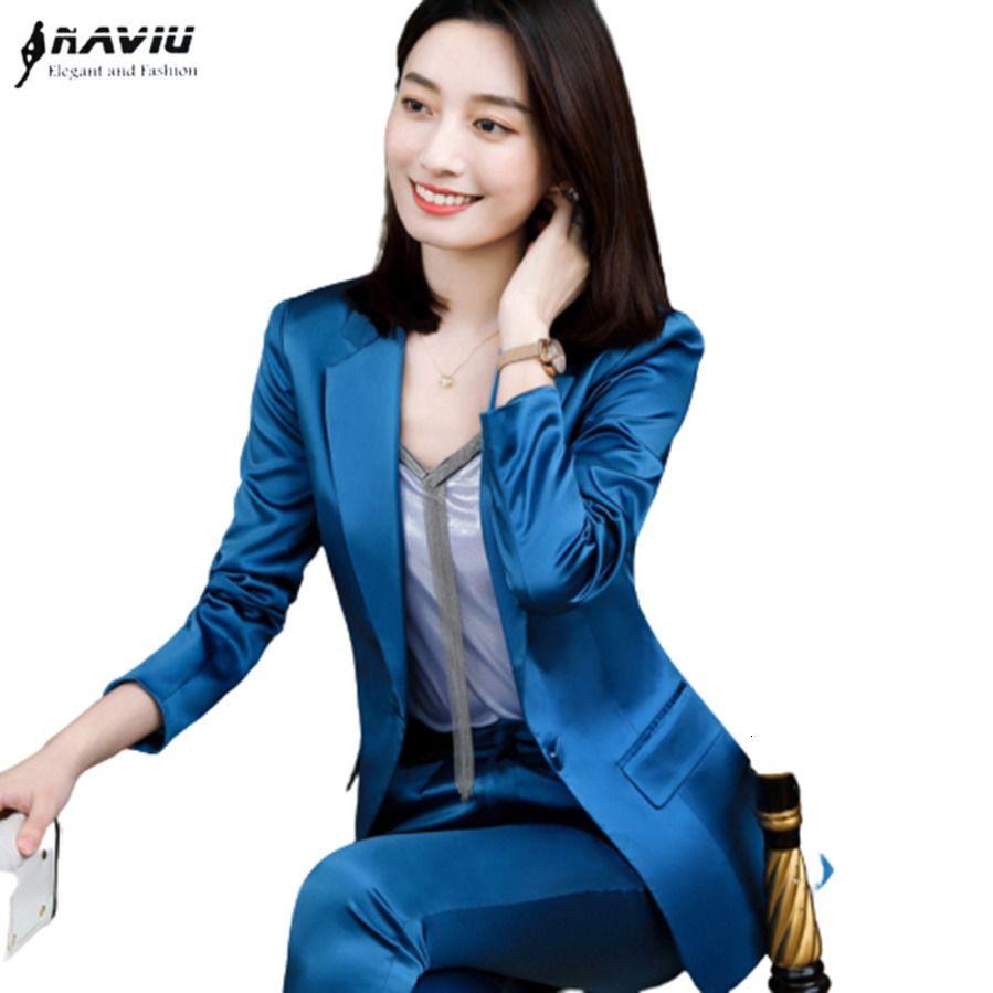 Pantaloni blu vestito donne 2020 Nuovo top di alta qualità satinato manica lunga blazer e pantaloni per ufficio per ufficio