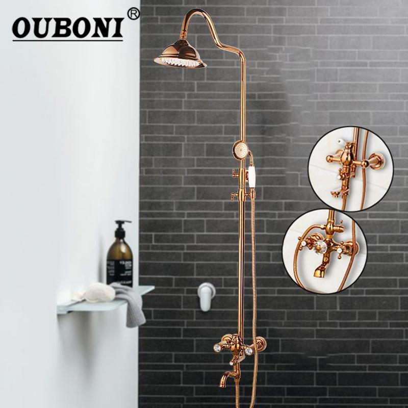 Rose Gold Польская твердая латунная ванная комната ванна для душа для душа набор дождевых осадков хрустальные двойные ручки смеситель смеситель кран