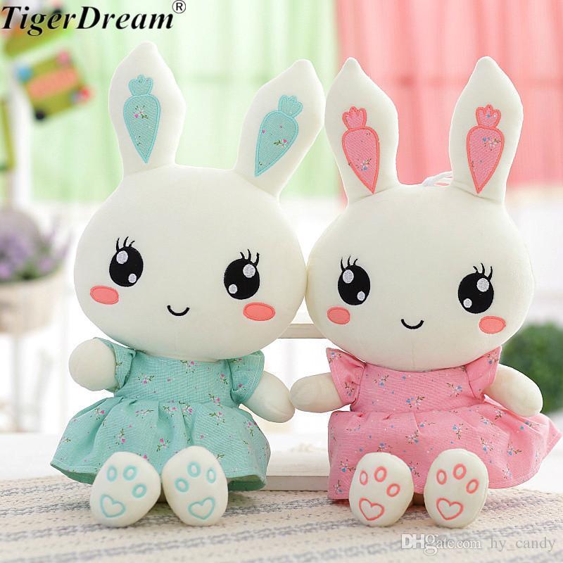 2018 Bonito vestido vestido coelho de pelúcia brinquedos coelhinho pp algodão coelhos recheados bonecas crianças brinquedos presentes de aniversário 2 cores