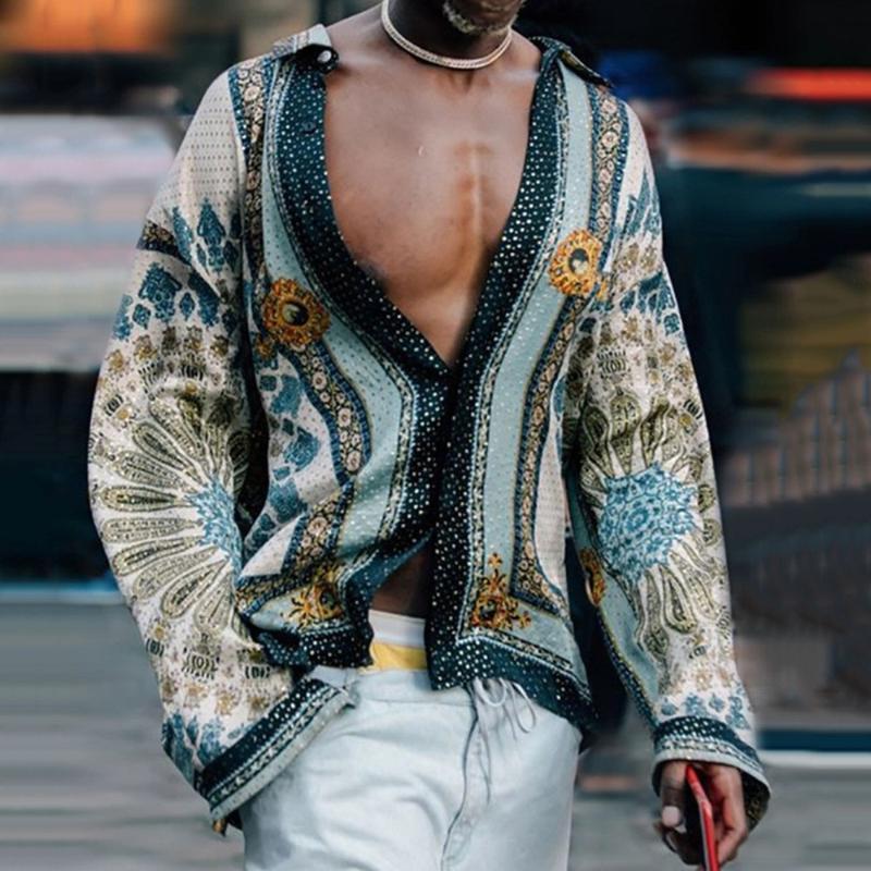 남자 셔츠 탑 빈티지 로크 빌리 패턴 인쇄 긴 소매 아프리카 남자 패션 플러스 사이즈 슬림 피트 가을 가을 복고 셔츠 캐주얼