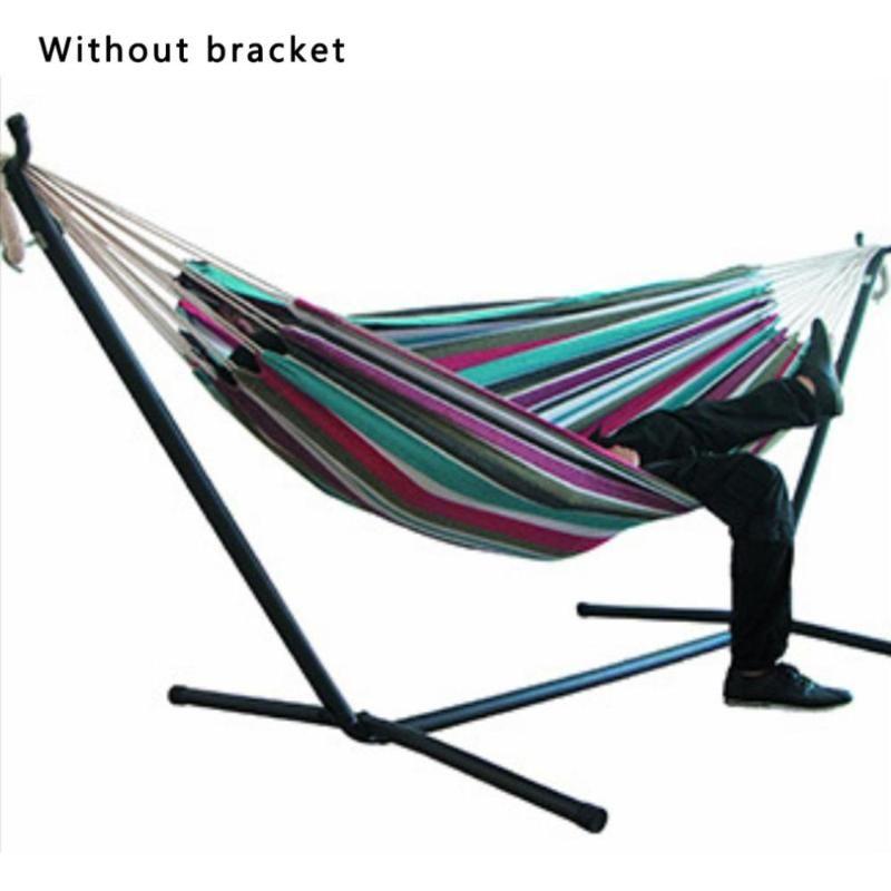 Summer Single Double Hammocks senza staffa Addensare Giardino esterno ampliato Giardino da viaggio Camping Canvas Appeso Sedia Swings Bed Camp Mobili