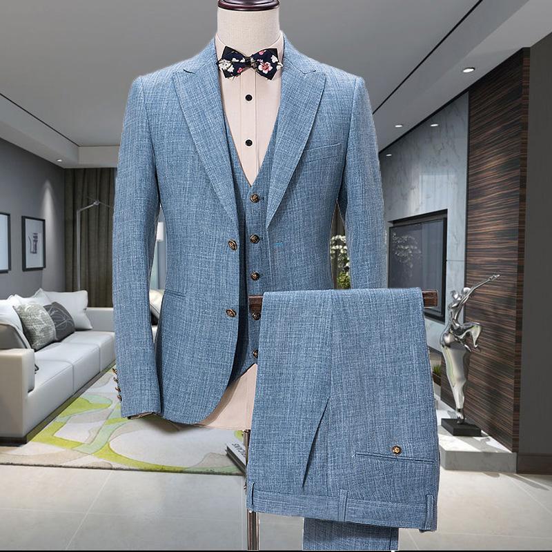Abiti da uomo Blazer (Giacca + Pantaloni + Vest) Design Blue Blue Bianche Suit Slim Fit Wedding Casual Summer Beach Groom Man Blazer Terno Masculino