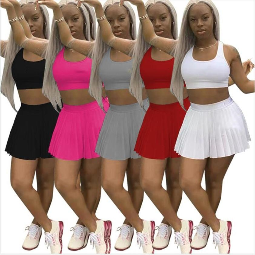 Womens two Pcs Summer Dresses Tank Top+Sport Skirts Camisole+Pleated skirt Embroidery Logo Tennis Sportswear White Tracksuits Black Outfits Jogger Suits 2XL 4783